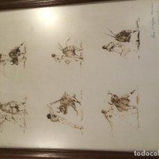 Arte: APUNTES A PLUMILLA DE TOROS, ENMARCADO. Lote 114047655