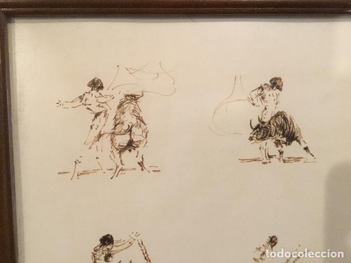 Arte: Apuntes a plumilla de toros, enmarcado - Foto 4 - 114047655