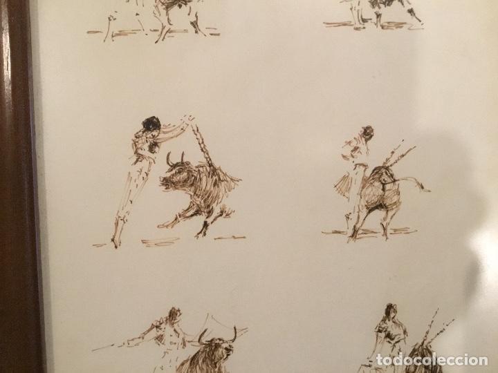 Arte: Apuntes a plumilla de toros, enmarcado - Foto 5 - 114047655