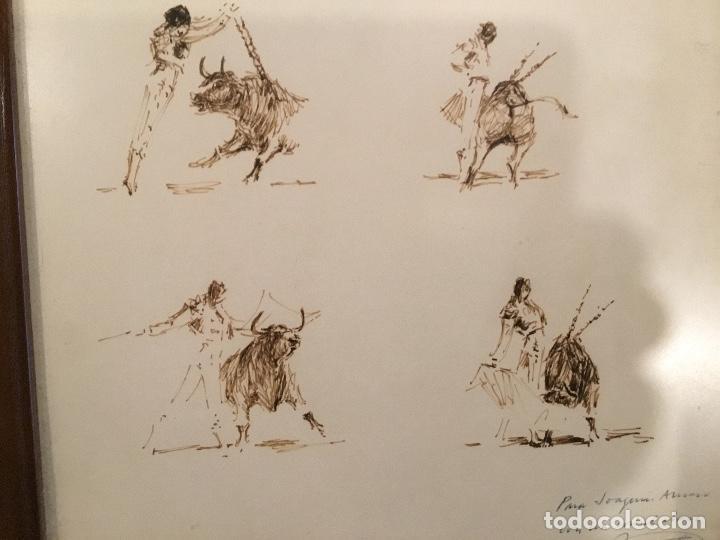 Arte: Apuntes a plumilla de toros, enmarcado - Foto 6 - 114047655