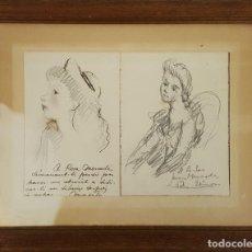 Arte: PAREJA DE DIBUJOS AL CARBÓN SOBRE PAPEL. CON DEDICATORIA DE LOS DIBUJANTES. 1947.. Lote 114155403