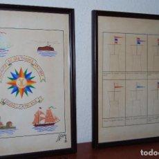 Arte: PAREJA DE DIBUJOS ORIGINALES - CARBONCILLO, TINTA Y ACUARELA - BANDERAS MARÍTIMAS - BARCO - 1982. Lote 114156863