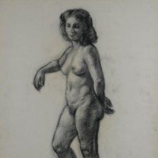 Arte: DIBUJO AL CARBONCILLO DESNUDO FEMENINO FIRMADO MUSONS 45. Lote 114195127