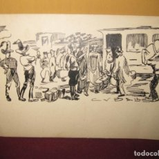 Arte: CUBELLS. ILUSTRADOR. DIBUJO ORIGINAL CON PLUMILLA DE 15 X 10 CM.. Lote 114254803