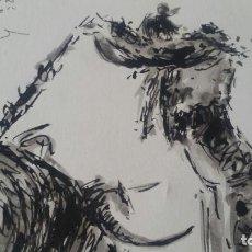 Arte: FANTÁSTICO DIBUJO TAURINO A TINTA - FIRMADO Y DEDICADO A JOSE PIÑAN. Lote 114261451