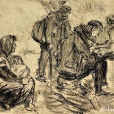 Arte: VAGABUNDOS CALENTÁNDOSE AL FUEGO. CARBONCILLO SOBRE PAPEL. ESPAÑA. FIN SIGLO XIX. Lote 114347919