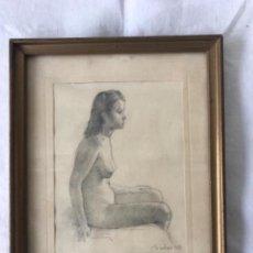 Arte: ALEJANDRO SICHES PIERA (BARCELONA, 1927-2009) DIBUJO A LÁPIZ 1943. DESNUDO FEMENINO.. Lote 114415407
