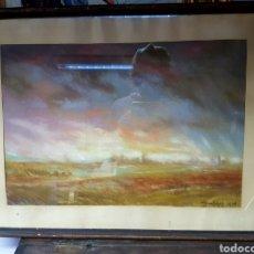 Arte: PAISAJE, DIBUJO PASTEL, FIRMA ILEGIBLE. ORIGEN ALEMÁN. 60X44CM. Lote 114457039