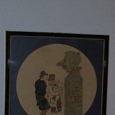 Arte: DIBUJO TINTA Y ACUARELA - CARICATURA - A LA GLORIA DE LOS BORRACHOS DE SANTANDER -TITI - AÑOS 60. Lote 114485135