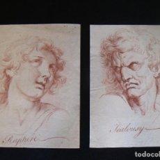 Arte: PAREJA DIBUJOS DE MAESTRO (MASTER DRAWINGS), TIPO SANGUINA, CIRCA 1850, SEGUIDOR DE LE BRUN. Lote 114512283
