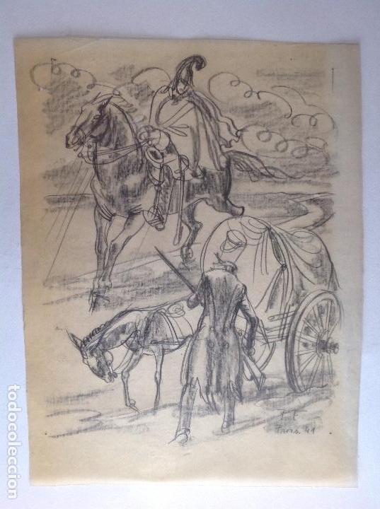P. F. ESCENA CON MILITAR Y CARRETERO. (Arte - Dibujos - Contemporáneos siglo XX)
