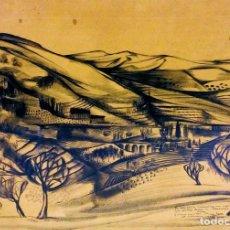 Arte: CODALET. PUEBLO EN LAS MONTAÑAS. CARBONCILLO SOBRE PAPEL. FIRMADO. EUROPA. 1951. Lote 114790663