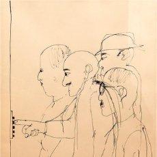 Arte: CESC - DIBUJO A TINTA - RETRATO DE FOUJITA. Lote 114889459