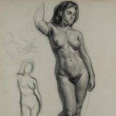 Arte: DIBUJO AL CARBONCILLO DESNUDO FEMENINO FIRMADO BALONYÀ 45 . Lote 114917451