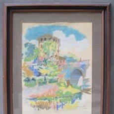Arte: JOSEP PUJOL RIPOLL (1905-1987), PAISAJE PUEBLO, DIBUJO. 58X74CM. Lote 114961915