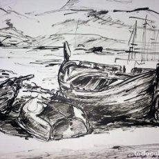 Arte: 3 DIBUJOS DE LA PLAYA DE LLANÇÀ. ROTULADOR S. PAPEL. FIRMADO BARNADES. CIRCA 1980. Lote 114967387