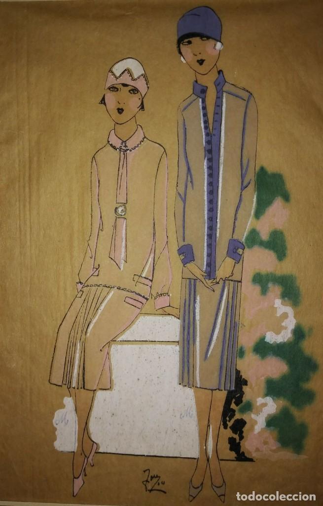 DIBUJO ORIGINAL SOBRE PAPEL CEBOLLA MARRÓN MODA AÑO 1925 APROX. MODA AÑOS 20 MODA AÑOS 30 (Arte - Dibujos - Modernos siglo XIX)