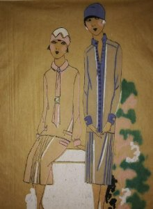 Dibujo original sobre papel cebolla marrón MODA Año 1925 aprox. moda años 20 moda años 30