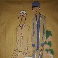Arte: DIBUJO ORIGINAL SOBRE PAPEL CEBOLLA MARRÓN MODA AÑO 1925 APROX. MODA AÑOS 20 MODA AÑOS 30. Lote 114974439