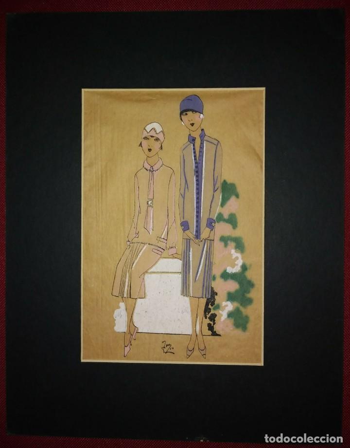 Arte: Dibujo original sobre papel cebolla marrón MODA Año 1925 aprox. moda años 20 moda años 30 - Foto 2 - 114974439