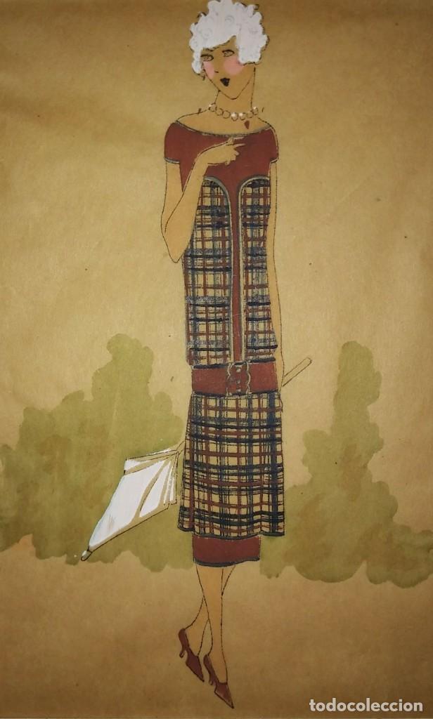 DIBUJO ORIGINAL SOBRE PAPEL CEBOLLA MARRÓN MODA AÑO 1925 APROX. FIGURINES - MODA 1920 - 1930 (Arte - Dibujos - Modernos siglo XIX)