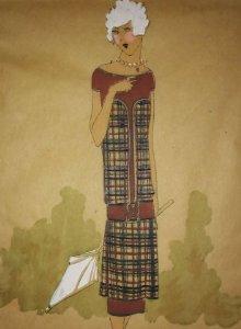 Dibujo original sobre papel cebolla marrón MODA Año 1925 aprox. FIGURINES - MODA 1920 - 1930