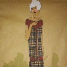 Arte: DIBUJO ORIGINAL SOBRE PAPEL CEBOLLA MARRÓN MODA AÑO 1925 APROX. FIGURINES - MODA 1920 - 1930. Lote 114974463