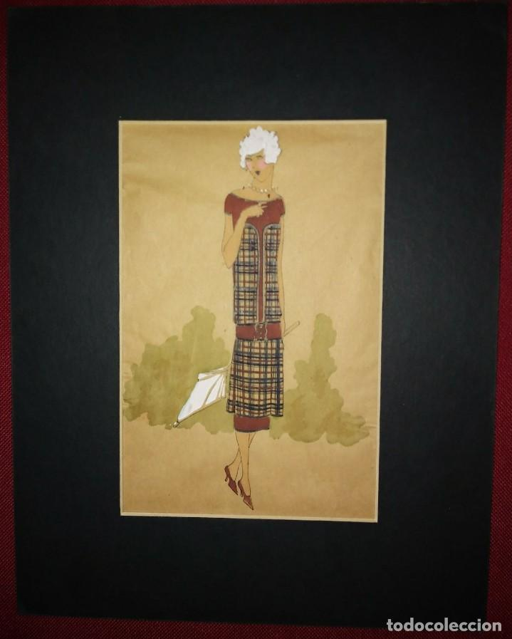 Arte: Dibujo original sobre papel cebolla marrón MODA Año 1925 aprox. FIGURINES - MODA 1920 - 1930 - Foto 2 - 114974463