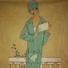Arte: DIBUJO ORIGINAL SOBRE PAPEL CEBOLLA MARRÓN MODA AÑO 1925 APROX.. Lote 114974487