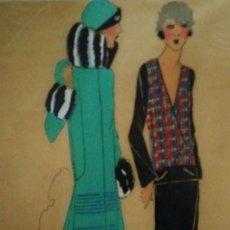 Arte: DIBUJO ORIGINAL SOBRE PAPEL CEBOLLA MARRÓN MODA AÑO 1925 APROX.. Lote 114974531