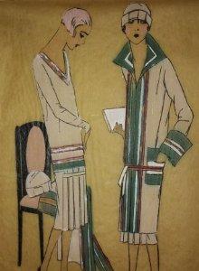 Dibujo original sobre papel cebolla marrón MODA Año 1925 aprox.