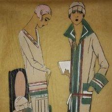 Arte: DIBUJO ORIGINAL SOBRE PAPEL CEBOLLA MARRÓN MODA AÑO 1925 APROX.. Lote 114974563