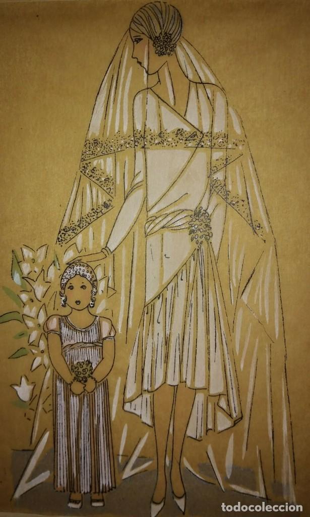 DIBUJO ORIGINAL SOBRE PAPEL CEBOLLA MARRÓN. MODA. VESTIDO DE NOVIA AÑO 1925 APROX. (Arte - Dibujos - Modernos siglo XIX)