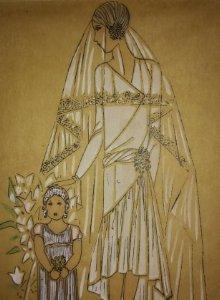 Dibujo original sobre papel cebolla marrón. Moda. Vestido de novia Año 1925 aprox.