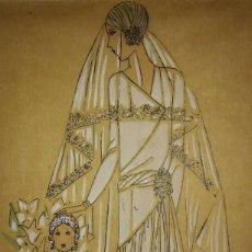 Arte: DIBUJO ORIGINAL SOBRE PAPEL CEBOLLA MARRÓN. MODA. VESTIDO DE NOVIA AÑO 1925 APROX.. Lote 114974583