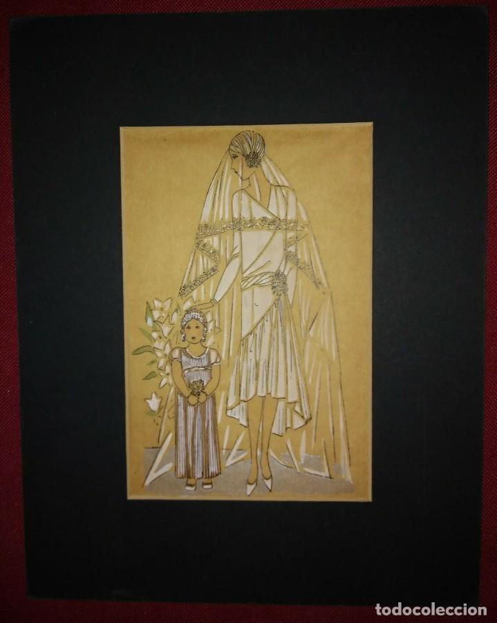 Arte: Dibujo original sobre papel cebolla marrón. Moda. Vestido de novia Año 1925 aprox. - Foto 2 - 114974583