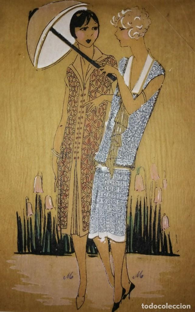 DIBUJO ORIGINAL SOBRE PAPEL CEBOLLA MARRÓN MODA AÑO 1925 APROX. (Arte - Dibujos - Modernos siglo XIX)