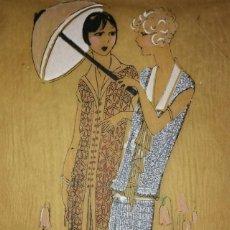 Arte: DIBUJO ORIGINAL SOBRE PAPEL CEBOLLA MARRÓN MODA AÑO 1925 APROX.. Lote 114974803