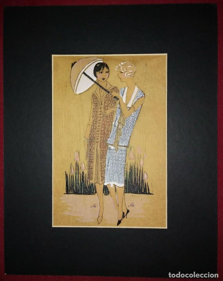 Arte: Dibujo original sobre papel cebolla marrón MODA Año 1925 aprox. - Foto 2 - 114974803