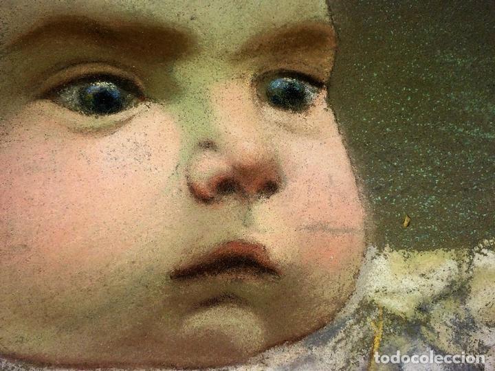 RETRATO DE BEBÉ. DIBUJO. PASTEL SOBRE PAPEL. FIRMADO. ESPAÑA. FIN SIGLO XIX (Arte - Dibujos - Modernos siglo XIX)