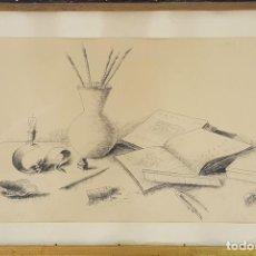 Arte: COMPOSICIÓN. DIBUJO A PLUMILLA SOBRE PAPEL. ANÓNIMO. SIGLO XX. . Lote 115082639