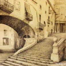Arte: ESCALINATA DEL SEMINARIO DE GIRONA. DIBUJO TINTA SOBRE PAPEL. FIRMADO ROVIRA BORDAS. ESPAÑA. XIX-XX. Lote 115097911