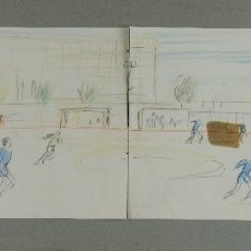 Arte: PHILIP STANTON (COLUMBUS, ESTADOS UNIDOS 1962) DIBUJO PARTIDO DE FÚTBOL FIRMADO. Lote 115111079