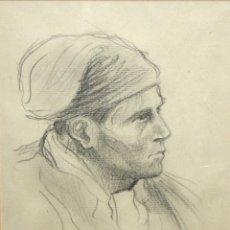 Arte: DIONÍS BAIXERAS VERDAGUER (BARCELONA, 1862 - 1943) DIBUJO A CARBON. RETRATO DE UN PAYES CATALAN. Lote 115215431