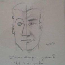 Arte: RICARD CALVO DURAN. PINTOR NACIDO EN 1940 EN SABADELL, DIBUJO DEDICADO. Lote 115607611