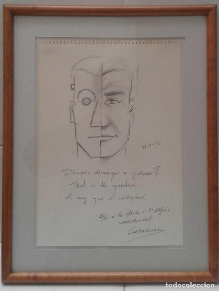 Arte: Ricard Calvo Duran. Pintor nacido en 1940 en Sabadell, dibujo dedicado - Foto 2 - 115607611