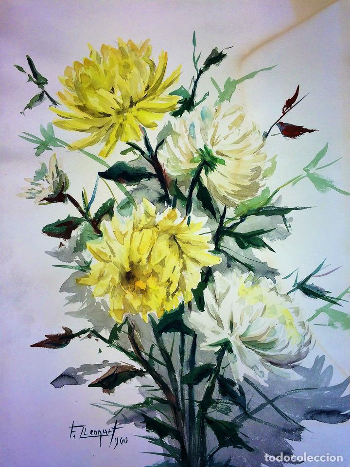 Ramos De Flores Acuarela Sobre Papel Firmado Comprar Dibujos - Fotos-ramos-de-flores