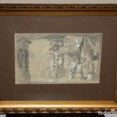 Arte: ESCUELA FRANCESA DEL SIGLO XIX. DIBUJO A CARBON Y CLARION. FECHADO DEL AÑO 1863. THEATRE DE LA GAITÉ. Lote 115830983