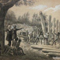 Arte: JOSÉ CUCHY ARNAU (PUERTO RICO,1857- BARCELONA,1937) DIBUJO ACUARELADO. AVENTURAS DE CRISTOBAL COLON. Lote 116090207