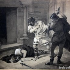 Arte: RAMIRO LORENZALE ROGENT (BARCELONA, 1859-1917) DIBUJO ACUARELADO Y FIRMADO. MUERTE DEL REY SANCHO. Lote 116091175
